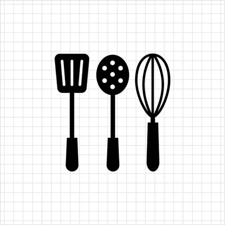preparing food: Icon of turner, skimmer and whisk silhouettes Illustration
