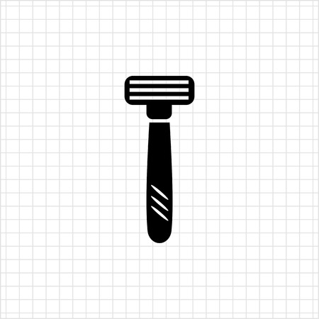 blades: Icon of safety razor with tree blades