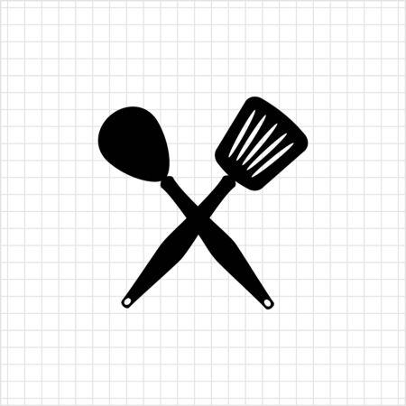 turner: Icon of crossed spoon and turner Illustration