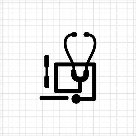depressor: Icon of stethoscope and tongue depressors Illustration