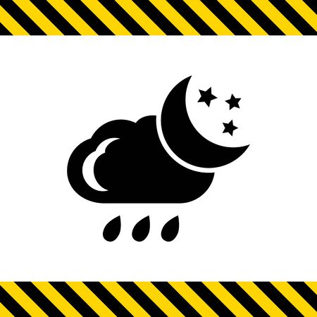 crescent: Icon of cloud with falling raindrops, crescent moon and stars Illustration