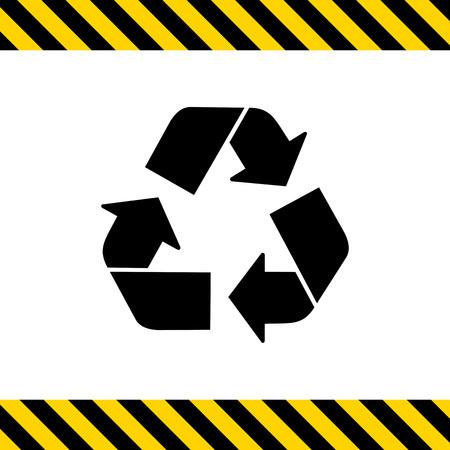 raccolta differenziata: Icona di vettore del segno di riciclaggio rappresentato dal triangolo fatto con le frecce Vettoriali