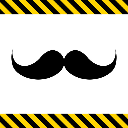 hair mask: Vector icon of black retro male moustache