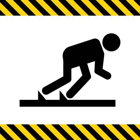 position: Vector icon of runner in start position Illustration