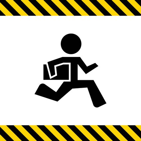 running businessman: Icon of running businessman holding briefcase