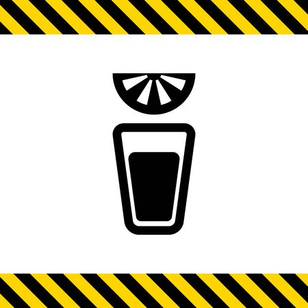 short: Vector icon of tequila short glass and lime slice