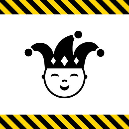 jester: Vector icon of smiling jester wearing hat with bells Illustration