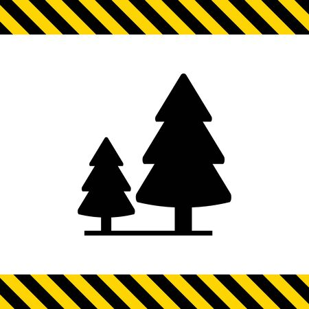 'wildlife reserve': Vector icon of wood sign with two fir trees