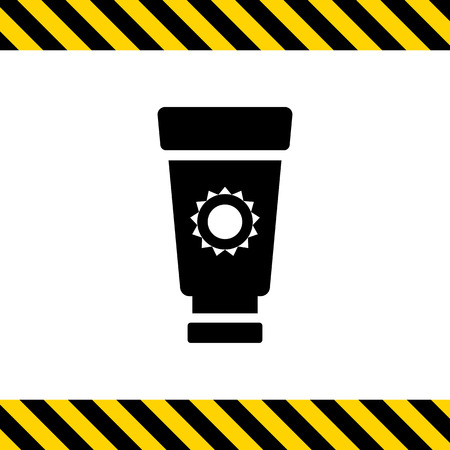 suntan cream: Icon of suntan cream tube with sun silhouette Illustration