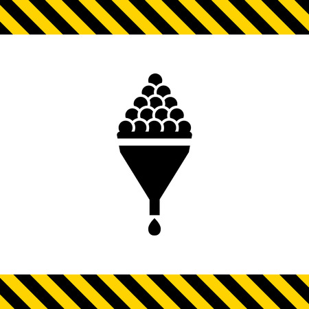 wine making: Vector icon of wine making sign depicting grape in funnel and wine drop