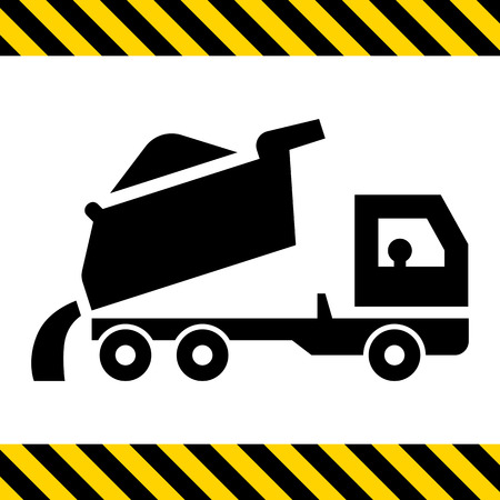 to unload: Icon of unloading dump truck Illustration