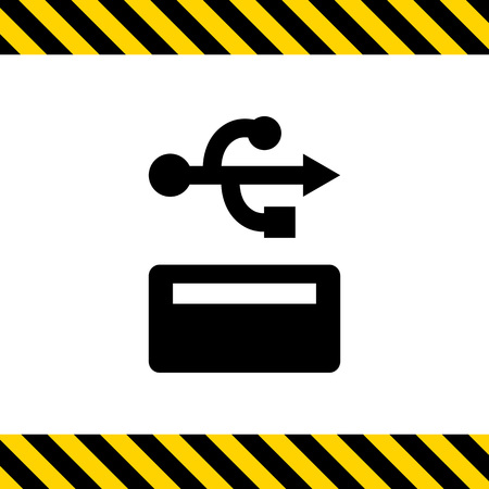 port: Icon of USB sign and port