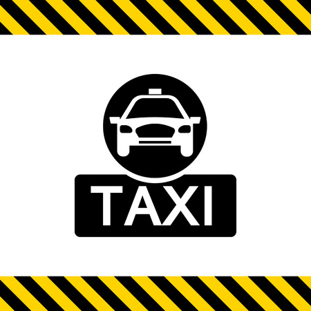 taxi sign: Vector icon of taxi sign with taxi car silhouette