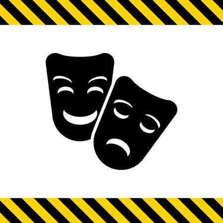 caretas teatro: Icono del vector de comedia y tragedia máscaras de teatro Vectores