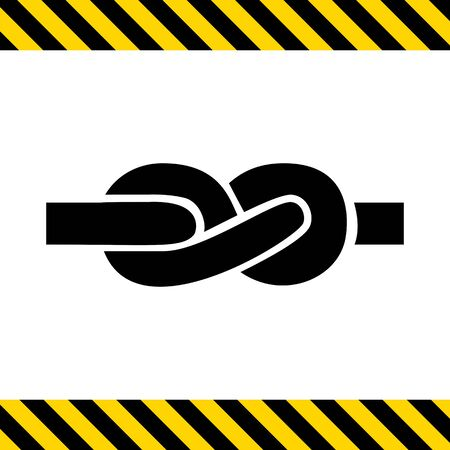 tied knot: Vector icon of tied knot made of rope Illustration