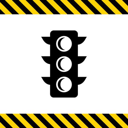 regulating: Vector icon of black traffic light silhouette