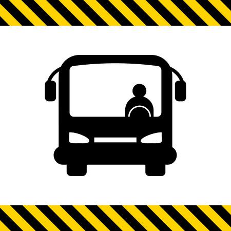 chofer de autobus: Icono de autocares con chofer de autobús, vista frontal