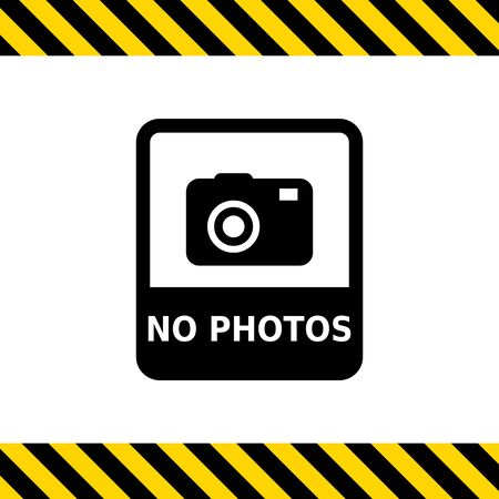 snapshot: Vector icon of No photo sign depicting snapshot camera with inscription Illustration