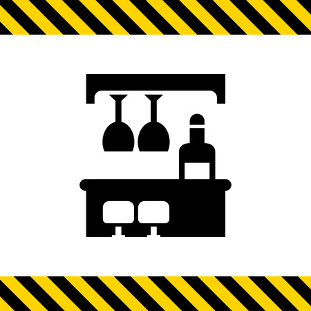 bar counter: Vector icon of bar counter with bottle, glasses and chairs Illustration