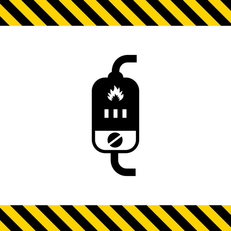 indication: Vector icon of boiler with switch and heat indication