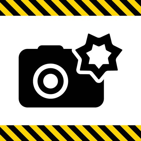 Vector icon of snapshot camera with flash Illustration
