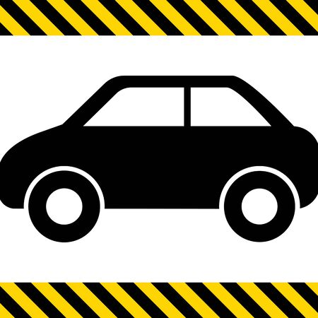 side view: Vector icon of standing car silhouette, side view Illustration