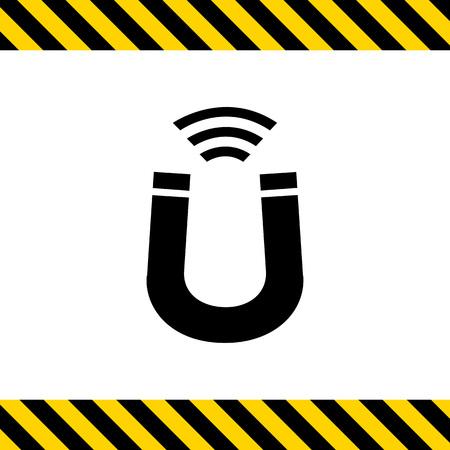 iman: Icono del vector del imán con indicación de fuerza magnética