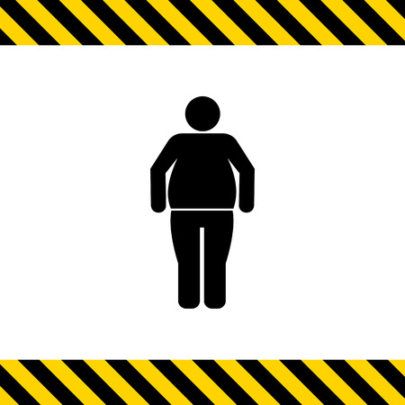 overeating: Vector icon of standing obese man silhouette Illustration
