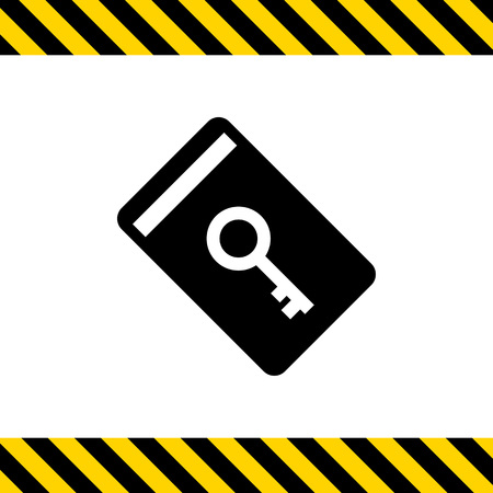 security technology: Vector icon of electronic keycard with key picture