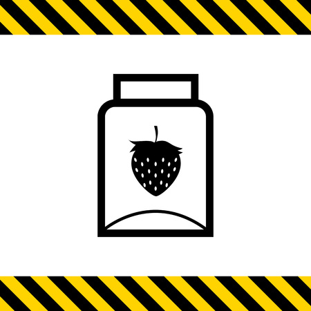 empty jar: Vector icon of empty jam jar with strawberry picture