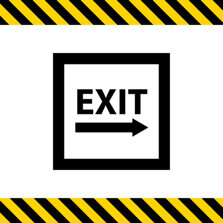 emergency exit label: Icon of exit sign with arrow to the right side