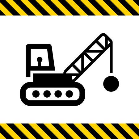 demolishing: Icon of crane with wrecking ball