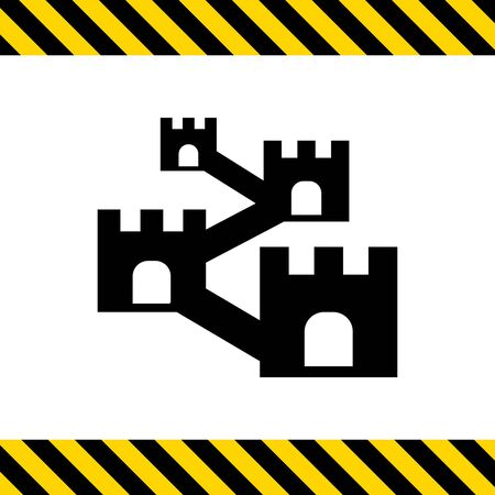 Vector icon of defensive wall with towers Illustration