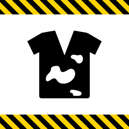 washing powder: Icon of dirty t-shirt with stains