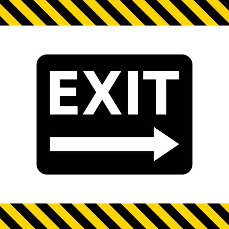 emergency exit label: Vector icon of exit sign with arrow to the right side Illustration