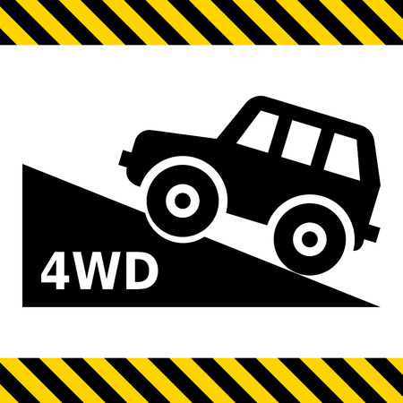 four wheel drive: Vector icon of four wheel drive car moving up hill Illustration