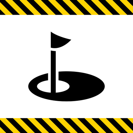 pennant: Icon of hole marked with pennant on golf course Illustration