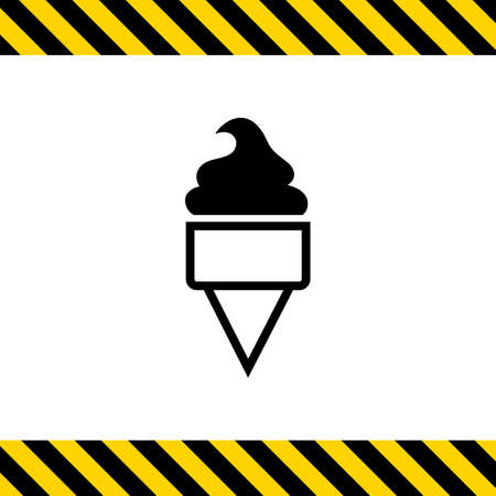 waffle cone: Vector icon of soft ice cream in waffle cone Illustration