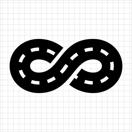 racing sign: Vector icon of road with marking winding in form of eternity sign