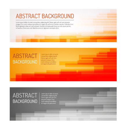 web elements: Set of three multicolored abstract backgrounds with sample text