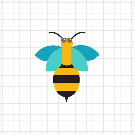 feeler: Multicolored vector icon of cartoon bee, top view