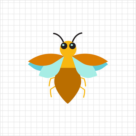 feeler: Multicolored vector icon of brown bug, top view Illustration