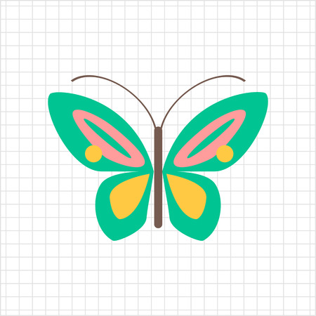butterfly: Multicolored vector icon of cartoon butterfly, top view Illustration