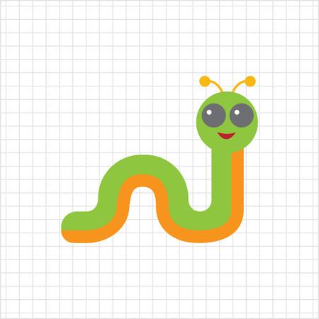 feeler: Multicolored vector icon of smiling cartoon caterpillar