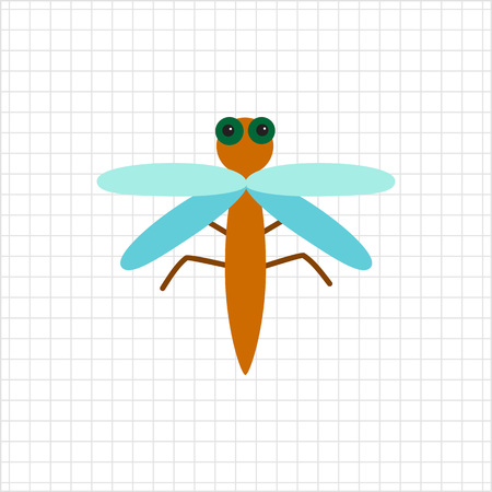 feeler: Multicolored vector icon of carton dragonfly, top view