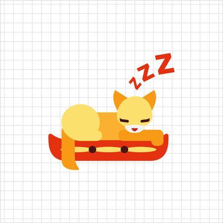 kitten cartoon: Vector icon of cat sleeping on pillow