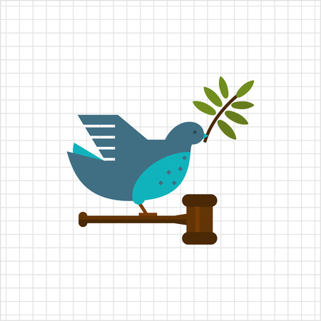 a twig: Vector icon of grey dove with olive twig in its beak, carrying gavel