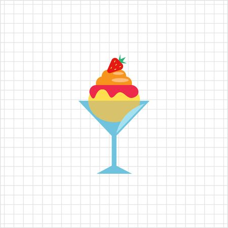 waffle cone: Vector icon of ice cream with topping in waffle cone