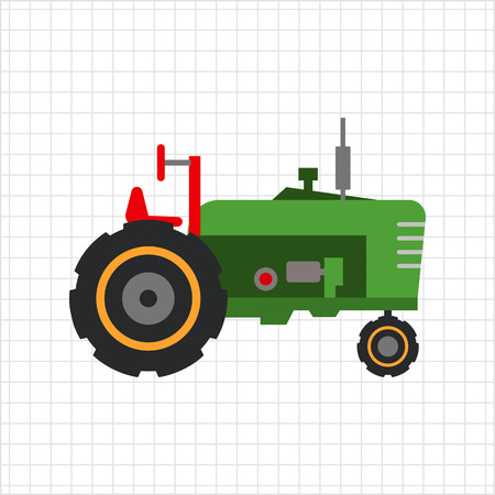 mover: Multicolored vector icon of green industrial tractor