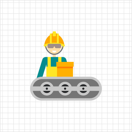 Multicolored vector icon of operator wearing helmet and standing at conveyor belt Illustration